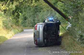 Grove Hill, Hellingly blocked after car flips during accident