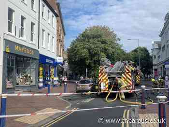 Road closed as firefighters tackle office blaze in Eastbourne