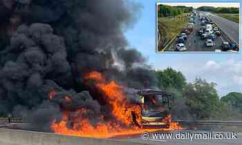 Bus fire shuts M1 near Nottinghamshire causing huge tailbacks set to last hours