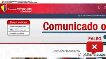 ¿Las labores de mantenimiento de la página del Banco de Venezuela quedaron suspendidas hasta el 20 de septiembre? - El Diario