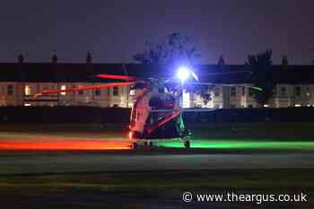 Air ambulance lands at Whitley Rec Ground, Eastbourne