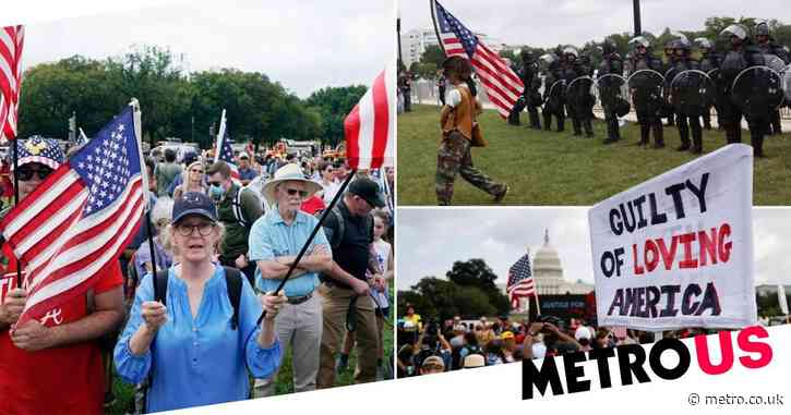 Trump supporters outnumbered by police and media as latest rally falls flat