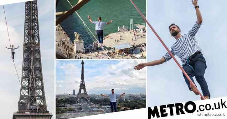 Daredevil tightrope artist takes 70 metre high walk across River Seine