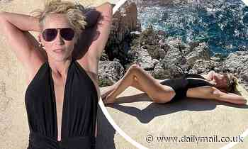 Sharon Stone, 63, shows off her very impressive figure in a plunging swimsuit
