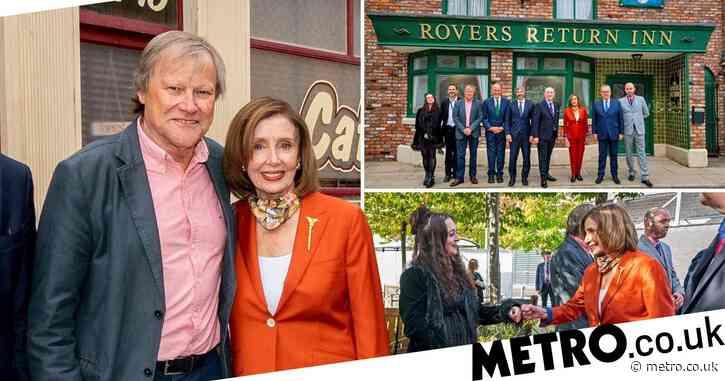 US politician Nancy Pelosi visits Coronation Street to discuss Nina Lucas hate crime storyline