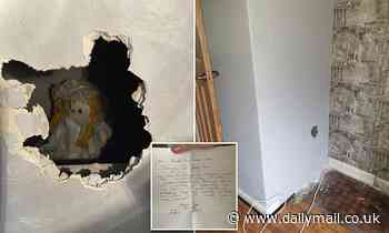 New homeowner is shocked to find a rag doll boarded up in a wall saying she killed a family