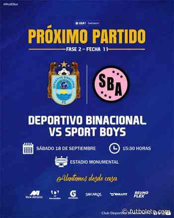 Ver en vivo Binacional vs Sport Boys por la fecha 11 de la Liga 1 de Perú - Futbolete