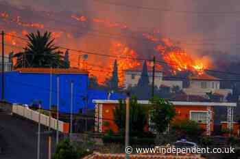 La Palma volcano: burning lava destroys at least 20 houses after thousands evacuated