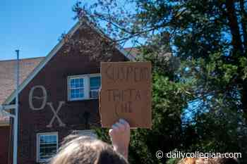 'There's no place for rapists at UMass:' Students gather near Theta Chi house in protest after accusations of sexual assault surface - The Massachusetts Daily Collegian