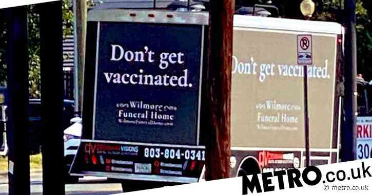 'Funeral home' sponsors advert urging people not to get vaccinated