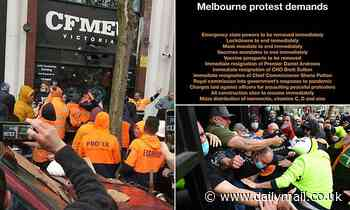 Tense stand-off in Melbourne as anti-vax tradies and police mass on opposite sides of the road