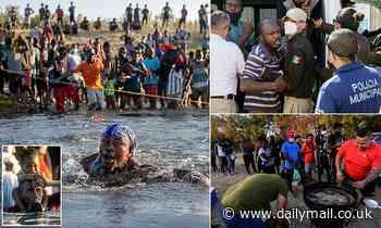 Haitian migrants wade BACK across the Rio Grande into Mexico to avoid US deportation flights