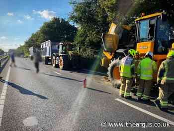A27 was closed after tractor fire near Tangmere roundabout