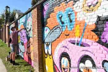Street Art van Bué The Warrior siert muur van OLVP-school
