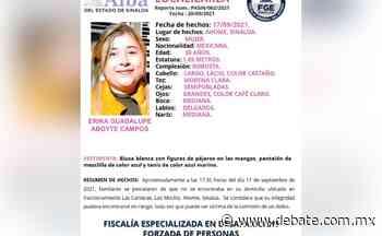 Activan Protocolo Alba para localizar a Erika Guadalupe Aboyte, quien desapareció en Los Mochis - Debate