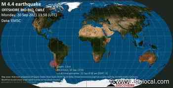Información sobre terremotos: Mag. Promedio 4.4 - Terremoto del Pacífico Sur, 90 km al oeste de Concepción, región del Biobio, Chile, el lunes 20 de septiembre de 2021 8:58 am (GMT -5) - islalocal.com