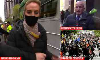 Brave moment Channel Nine reporter stares down anti-vax protesters and says she won't be intimidated