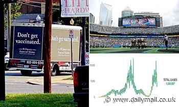 Funeral truck that says 'don't get vaccinated' circles North Carolina stadium in pro-vaccine stunt