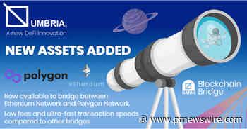 Online Blockchain plc: MATIC and ETH Added to Umbria Network's Narni Cross-chain Bridge - PRNewswire