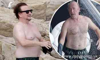 U2's Bono, 61, and The Edge, 60, go shirtless during beach day