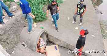 Newborn baby girl rescued from drain pipe where she was spotted sleeping alone