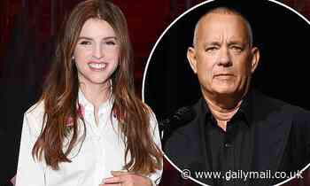 Anna Kendrick looks stylish in pink satin skirt as she joins a shaven-headed Tom Hanks