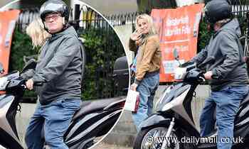 Harry Enfield kindly gives his West End co-star Jenny Rainsford a ride home on his scooter