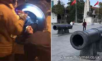 Firefighters rescue Turkish man who got stuck in an Ottoman cannon while posing for a photo