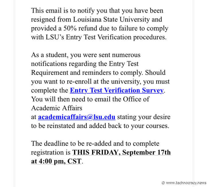 Louisiana State University Students Unenrolled For No Vaccine, Lose 50% Of Tuition