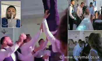 Groom breaks back at wedding after friends throw him in the air and drop him on his head