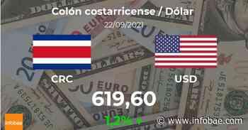 Dólar hoy en Costa Rica: cotización del colón costarricense al dólar estadounidense del 22 de septiembre. USD CRC - infobae