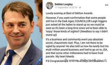 Tory councillor suspended after telling women at awards ceremony to 'stand up so I can look at you'