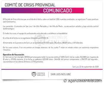 Son 7 los casos de Coronavirus registrados este miércoles - Agencia de Noticias San Luis