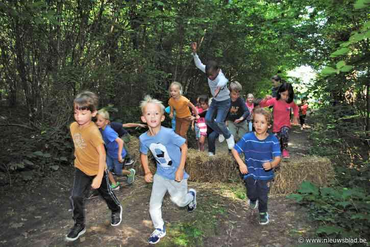 Hindernissenparcours in Speelbos voor scholenveldloop
