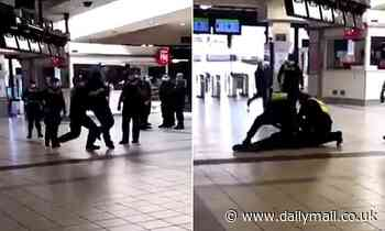 Moment Melbourne police officer slams man headfirst into the groundat Flinders Street Station
