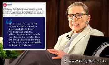 ACLU is slammed for alteringRuth Bader Ginsburg quote on abortion rights to remove female pronouns