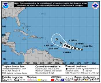 Tropical Storm Sam swirls to life in a frenetic season, expected to be a hurricane by Friday