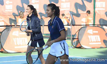 Kate Middleton plays doubles with Emma Raducanu at special homecoming celebration - best photos