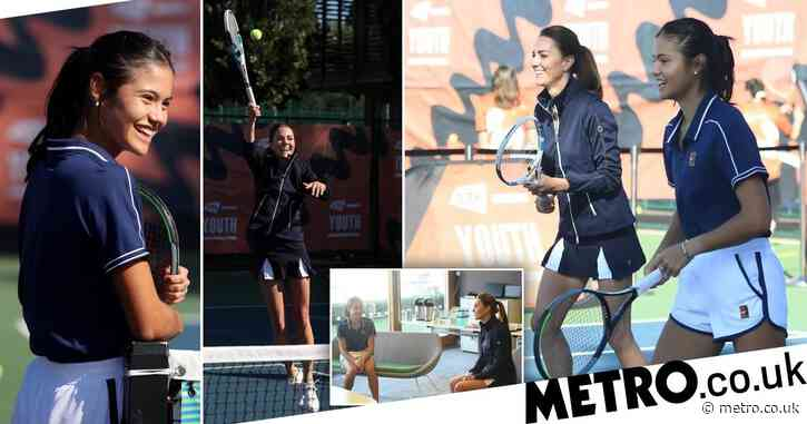 Kate Middleton and Emma Raducanu team up for doubles rally in London
