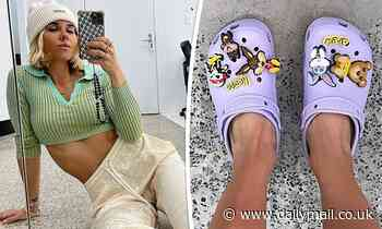 Pip Edwards kicks off the weekend wearing a fun pair of lilac-coloured Crocs