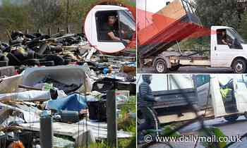 Britain's worst fly-tippers? Shameless pair caught on camera dumping tonnes of waste in Wales