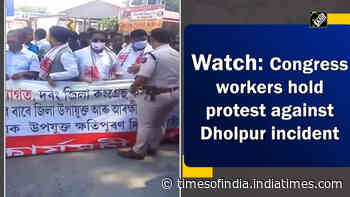Watch: Congress workers hold protest against Dholpur incident