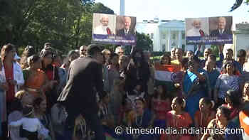 Indian Americans gather outside White House ahead of PM Modi's arrival