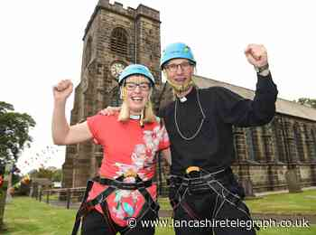Bishop and two reverends abseil down Hoghton church in charity event