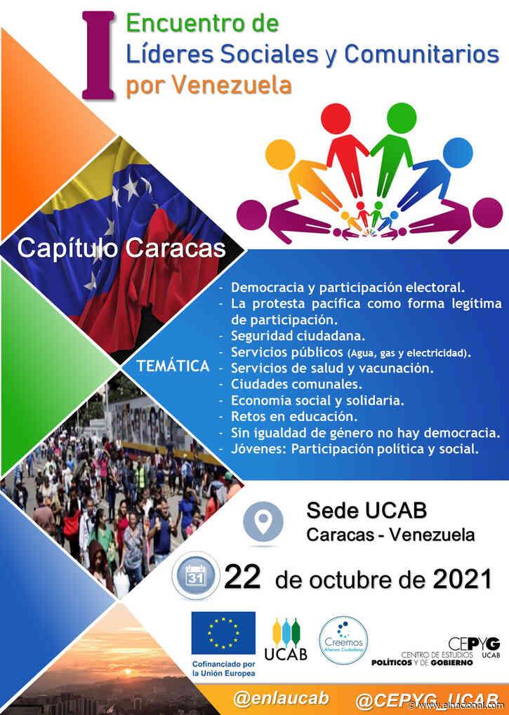 UCAB convoca a Primer Encuentro de Líderes Sociales y Comunitarios por Venezuela