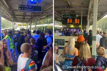 Crowds of festival goers at Preston Park train station amid works