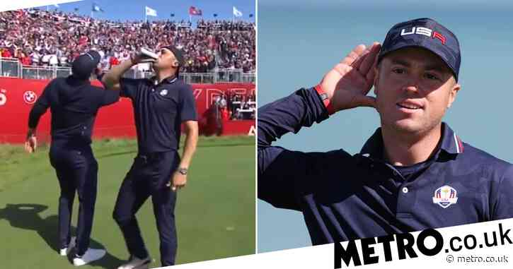 Justin Thomas and Daniel Berger down beers on first tee as USA dominate Europe in Ryder Cup