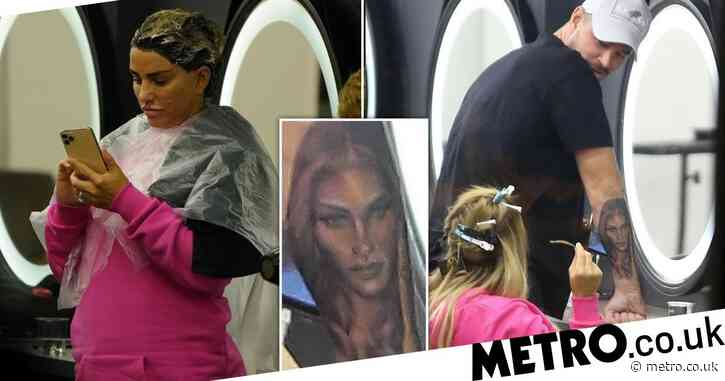 Carl Woods reveals another huge portrait tattoo of Katie Price as she gets her hair done in Turkey