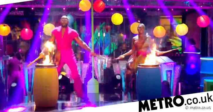 Strictly 2021: Ugo Monye dedicates joyful first samba to his late father as a 'celebration' of his life on day of funeral