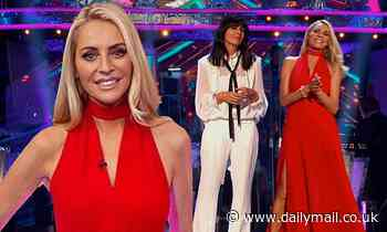 Tess Daly wows in a side-split gown  alongside Claudia Winkleman as they host Strictly Come Dancing